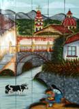 River through the village  kitchen tile mural