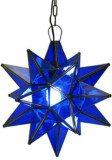 blue stained glass star lamp