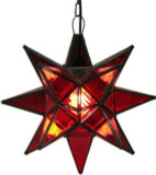 red stained glass star lamp