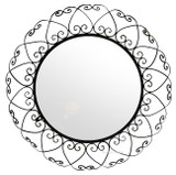 round forged iron mirror