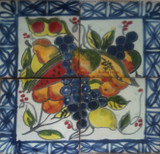 Grapes and watermelon wall tile mural
