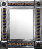 mexican mirror with folk art tiles
