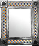 mexican mirror with handcrafted tiles