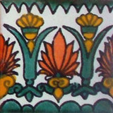 mexican stair rise tile white green terracotta