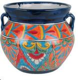 handmade talavera flower planter orange blue