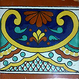 hand painted talavera tile terracotta blue