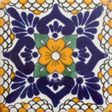 hand painted Mexican tile cobalt yellow