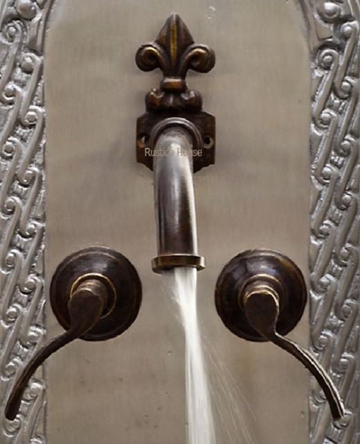 Rustic Looking Bathroom Faucets: Rustic Wall Bath Bronze Faucet