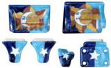 blue brown ceramic bath accessory set