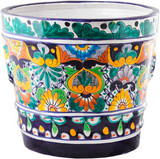 hand crafted cobalt yellow flower pot