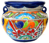 hand crafted talavera flower planter red white