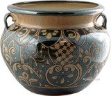rustic talavera flower planter dark green
