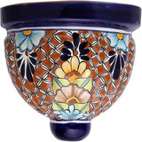 painted talavera sconce cobalt brown
