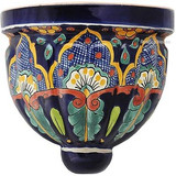 southern talavera sconce green brown