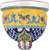 country style talavera sconce yellow blue