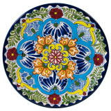 artisan made talavera plate blue green
