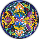 southern talavera plate yellow orange
