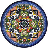 painted talavera plate green red