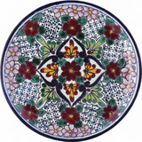 hand painted talavera plate red white