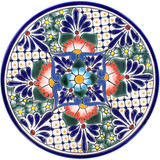 mexican talavera plate cobalt orange