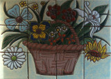 flower basket kitchen wall relief tile mural