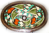 oval traditional copper bathroom sink