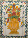 yellow vase patio tile mural