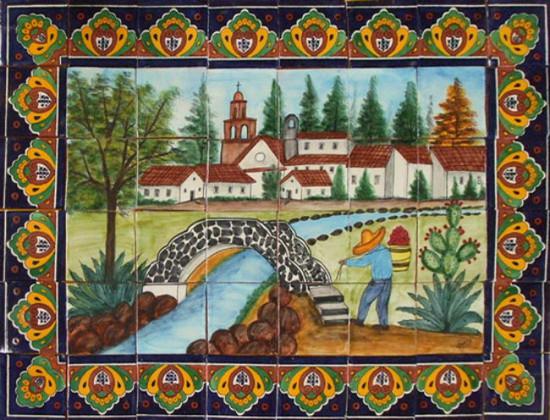 Custom Mexican Tile Mural