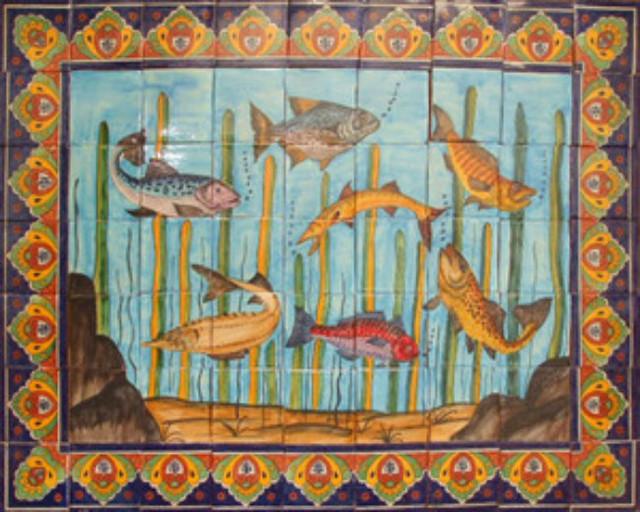 Handmade Garden Tile Mural