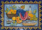 hand painted tile mural