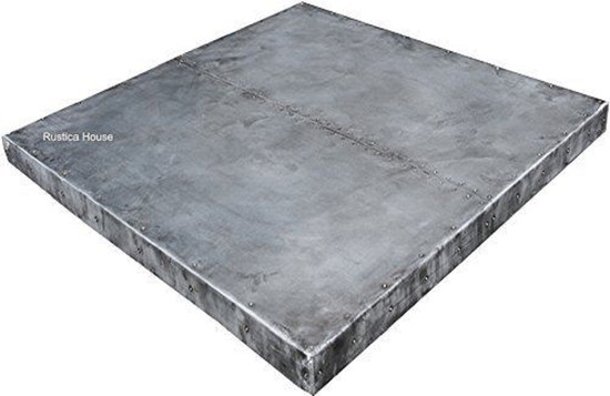 square zinc table-top