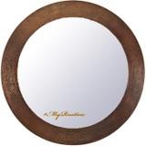 hand hammered round copper mirror