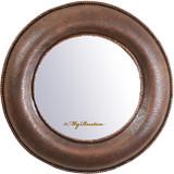 hand crafted round copper mirror