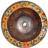 rustic round copper bath sink