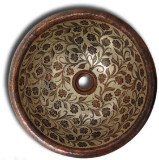 traditional round copper bath sink