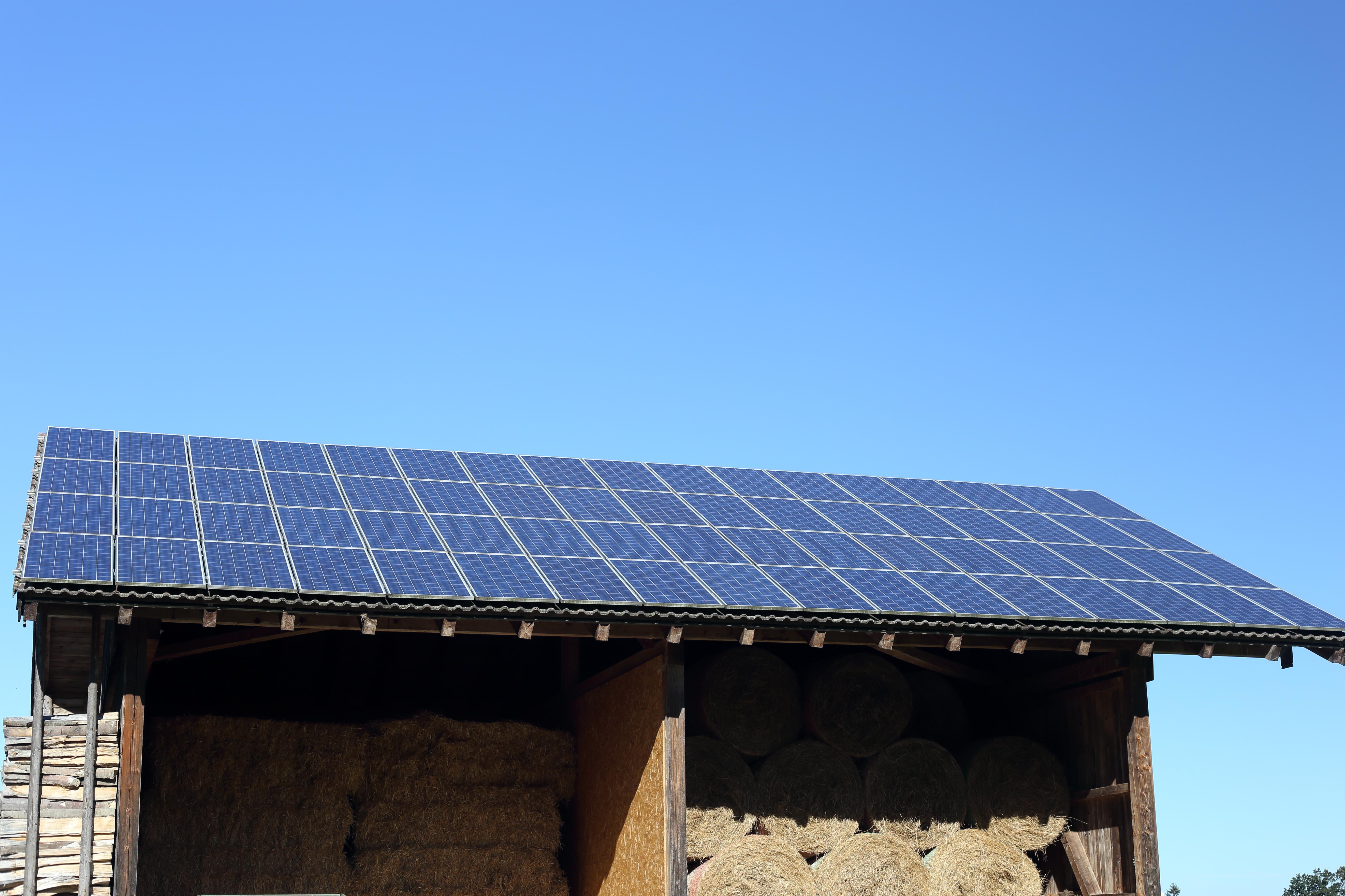 Solar panels on top of barn