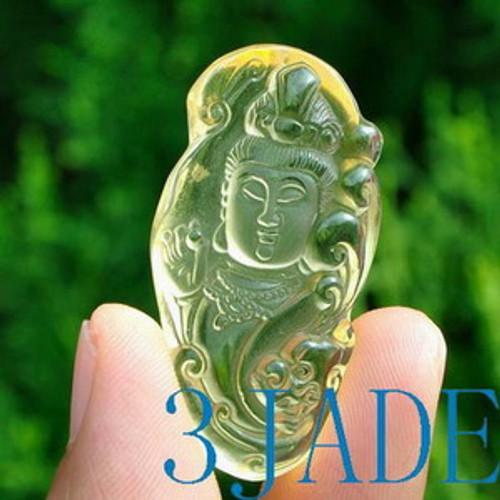 Clear Yellow Rock Crystal Quartz  Kwan Yin / Guanyin Amulet / Pendant