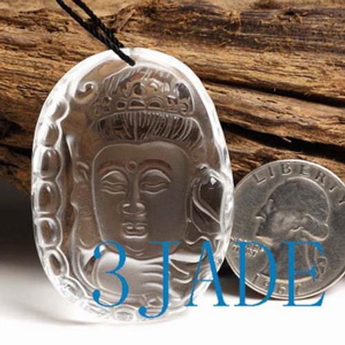 Clear Rock Crystal Quartz Kwan Yin / Guanyin Amulet / Pendant