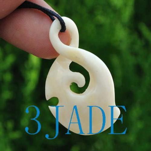 Hand Carved Bone Twist Koru Amulet Pendant NZ Maori Style Carving Art