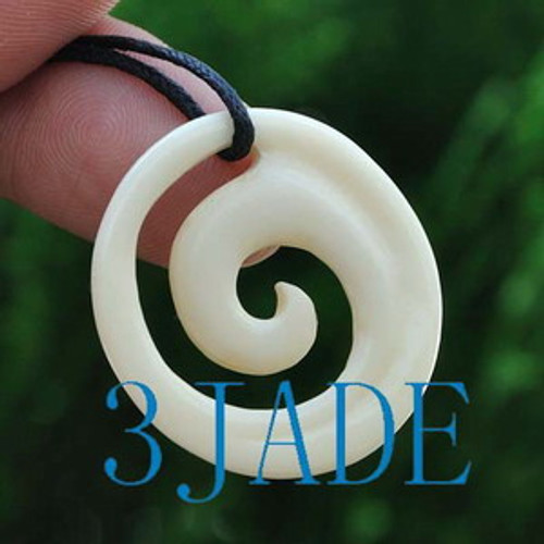 Hand Carved Bone Koru Amulet Pendant NZ Maori Style Carving Art