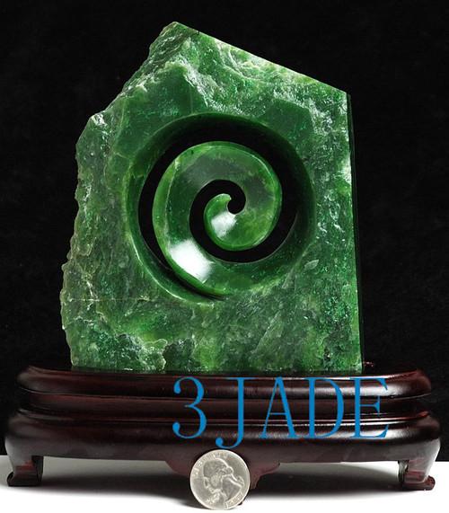 Green Jade Koru Statue