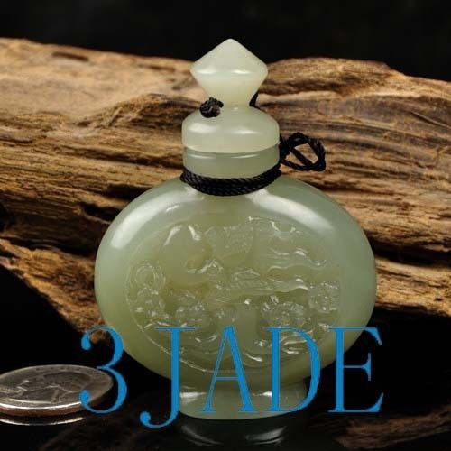 Hand Carved Natural Hetian Nephrite Jade Carving: Snuff Bottle