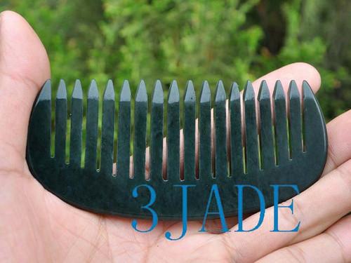 hand carved nephrite jade comb
