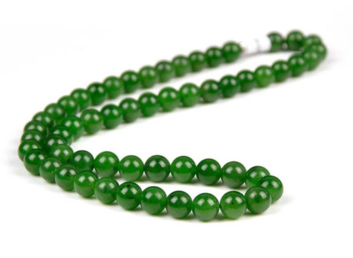 Green Nephrite Jade Beads Necklace