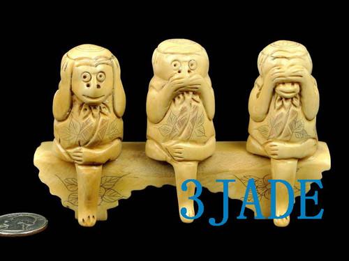 Bone Three Wise Monkeys
