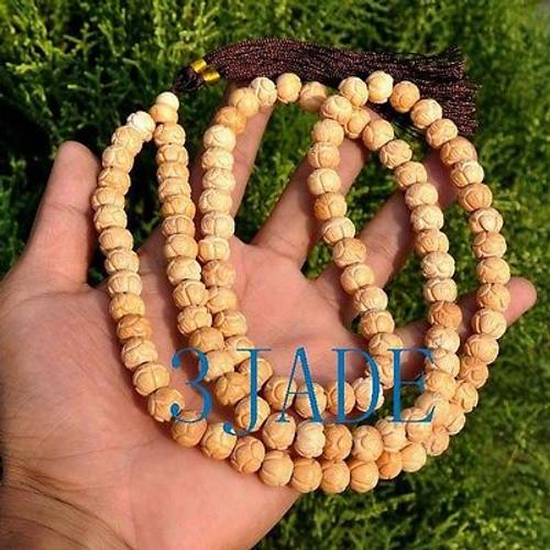 carved bone lotus prayer beads