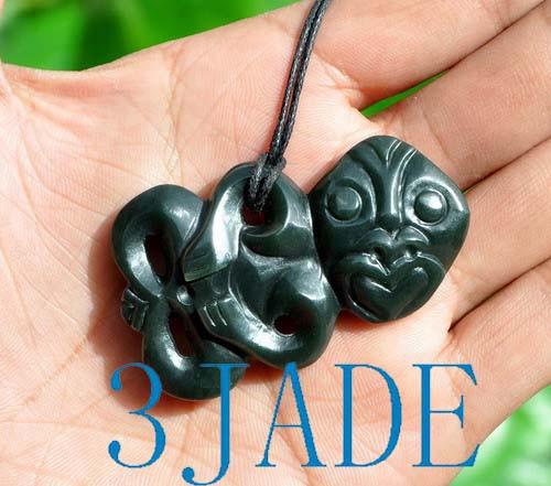 Nephrite Jade Hei Tiki Pendant