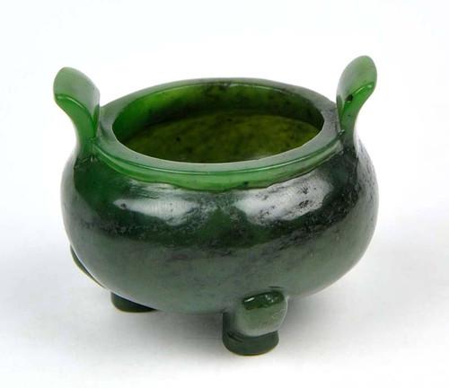 Green Nephrite Jade Chinese Censer