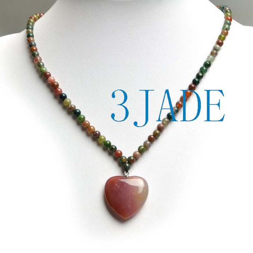moss agate heart pendant necklace
