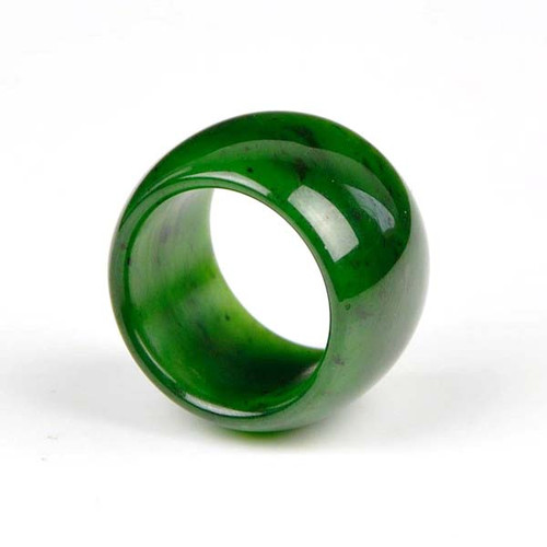 wide green nephrite jade ring